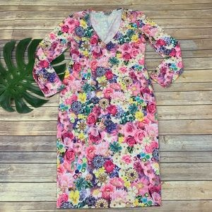 Asos pink floral jewelry print midi sheath dress